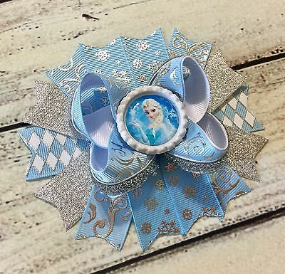 "Frozen Elsa Stacked Boutique Hair Bow Handmade 5"" Blue and Silver"
