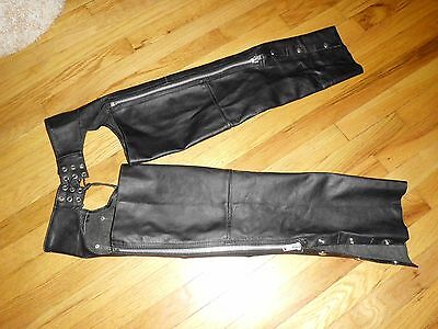 MENS INTERSTATE LEATHER MOTORCYCLE BLACK LEATHER CHAPS SIZE L Excellent Cond.