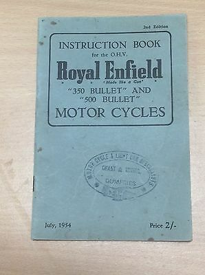 Vintage Royal Enfield Ohv Motor Cycle 350 & 500 Bullet Instruction Book 1954