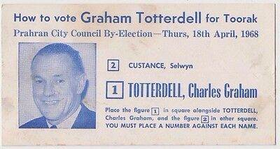 Toorak Victoria Australia 1968 electoral card for Graham Totterdell, interesting