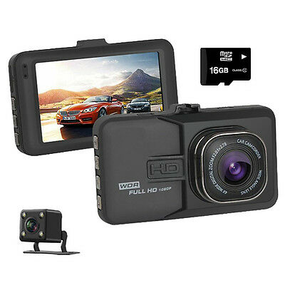 Full HD 1080P 3.0'' Car Dual Dash Cam Recorder, Front and Rear DVR Dashboard Cam