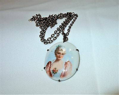 Vintage Brass Hand Painted Porcelain Portrait Pendant Chain necklace