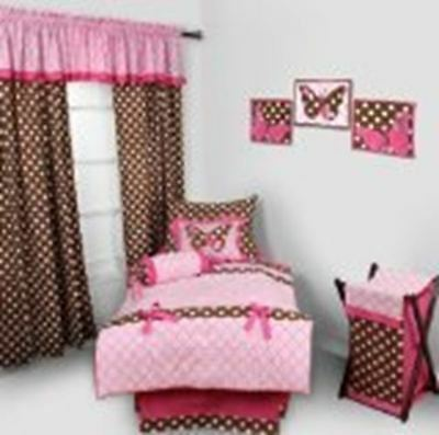Butterfliers pink/chocolate 4 pc Toddler Bedding Set