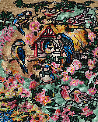 For Mountng & Framing Or Pillow Top Needlepoint Flowers & Birds Oriental Looking