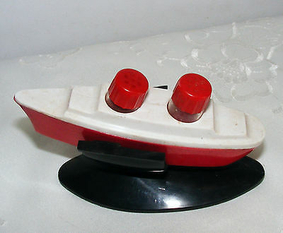 Cute Vintage Salt & Pepper Shakers Red & White Steam / Cruise ship With Stand