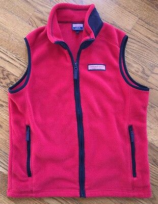 Boy's/Girls Vineyard Vines Full Zip Fleece Vest Size L 16-18 Red and Navy