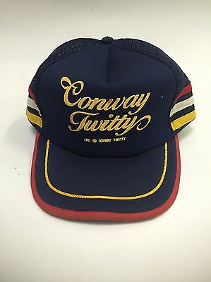 Vintage CONWAY TWITTY Country Music CONCERT TOUR Mesh Trucker Baseball Hat Blue