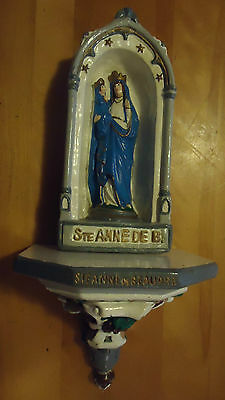 """RELIGIOUS Chalkware ALTAR Jesus & Mary candle holder 17"""""""