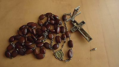 """Vintage Relic Reliquary Crucifix  Rosary 23"""" Long"""