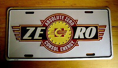 Absolute Zero-Consol Energy-Embossed Metal License Plate/sign - New