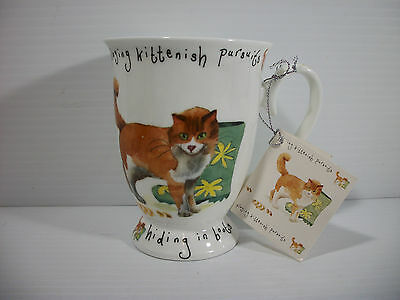 "Kent Pottery Cat Coffee Mug Playing Kittenish Pursuits ""Hiding in Muddy Boots"""