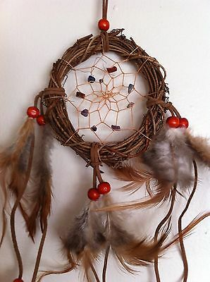 "Cherokee 17"" Grapevine Dream Catcher, Turquoise & Lapis Stones , Feathers, Beads"