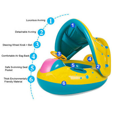 Recommended Kid Swim Swimming Ring Baby Water Yacht Float Infant Pool Water Fun