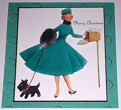 Handmade Greeting Card 3D Christmas Retro Style With A Lady Mailing Cards