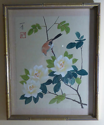 Antique/vintage Asian Water Color On Silk Painting Signed Professionally Framed