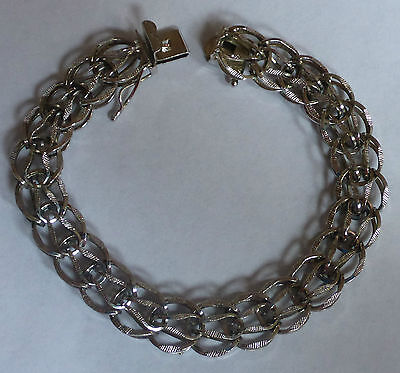 "Vintage Sterling Silver Charm Bracelet With Safety Clasp - 7 3/4"" Long"