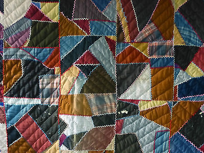 """Antique Hand Sewn Hand Quilted Patchwork Quilt Crazy Quilt - 87"""" X 66"""""""