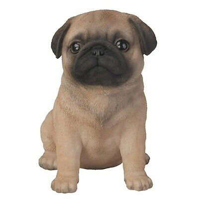 Sitting PUG Puppy Dog - Life Like Figurine Statue Home or Garden NEW