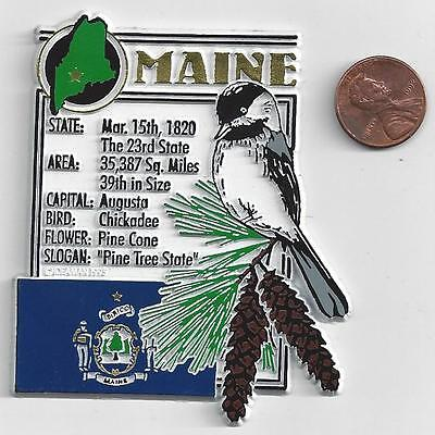 MAINE  STATE MONTAGE FACTS MAGNET with state  bird  flower  and flag,