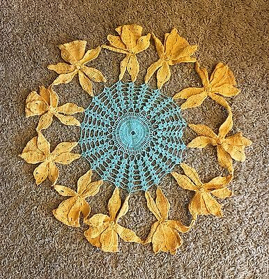 A2 Vintage Crochet Round Doily Center Piece Shabby Chic Yellow Blue Handmade