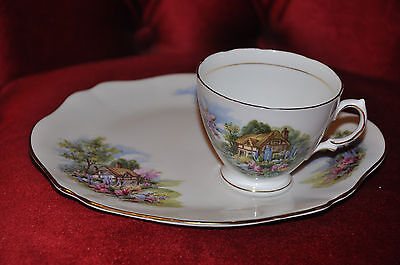 Pretty Royal Vale Cup & Plate Tennis Set with English Thatched Cottage Garden