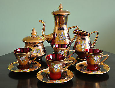 Stunning Ornate Ruby & Gold Murano /Venetian Glass Coffee/ Tea Set 7 Pieces