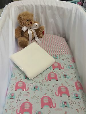 3 Piece Baby Bassinet Bedding set in grey Pink, Soft Mint Elephants