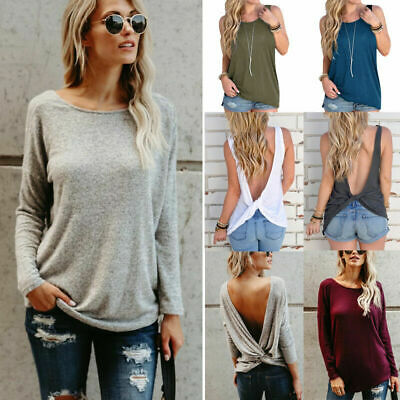Women Sexy Backless T-shirt Ladies Back Twist Knot Tank Tops Vest Fashion Blouse
