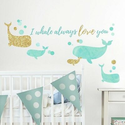 I WHALE ALWAYS LOVE YOU Glitter Wall Decals Peel & Stick Baby Nursery Room Decor