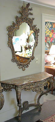 Vintage Carved Italian Mirror & Console Table w/ Pink Marble Top Crica 1950 NR