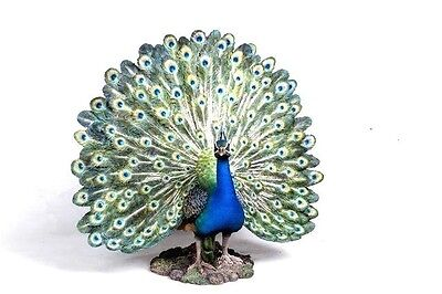 Peacock With Feathers Out Statue New Realistic Life Like Home Yard Garden Decor