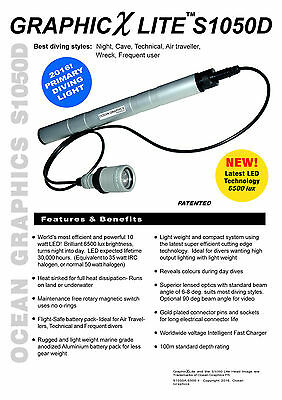 Ocean Graphics Pro LED Tech Dive torch. Genuine specs.  Australian Made Quality