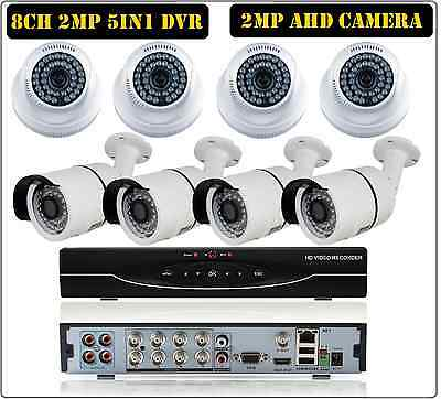 8CH 1080P 2MP 5in1 DVR,  2MP AHD CCTV Camera Surveillance Security System Kit