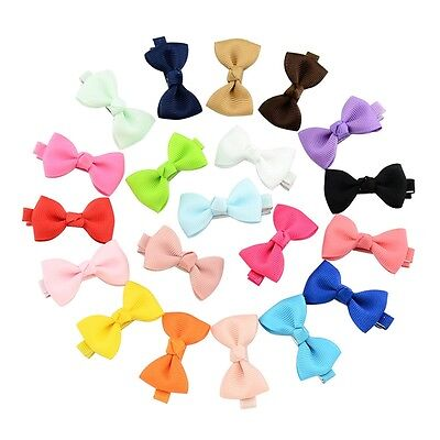 20pcs Kid Girl Small Ribbon Bow Hair Clip Baby Barrette Hairpin Accessories Gift