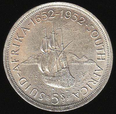 South Africa 1952 Silver 5 Shillings Km-41 Extremely Fine