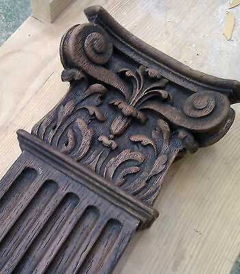 Old Victorian fireplace carved oak wood ornate fire surround mantel, replica