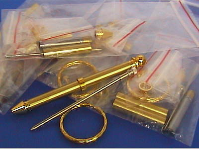 Woodturning Lathe KEYRING PEN Kits x 3 - Gold/Gun Metal/Chrome
