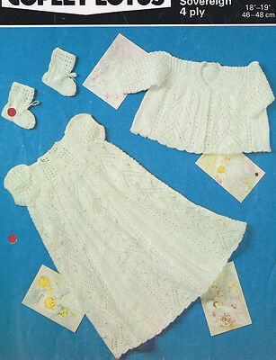 VINTAGE  KNITTING PATTERN COPY -  CHRISTENING SET TO KNIT FOR BABY - 1960's
