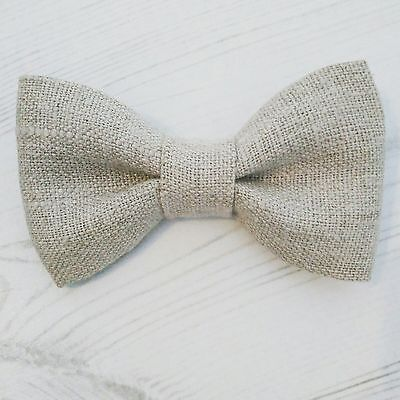 Baby Boys & Children's Handmade Rustic Brown Natural Linen Dickie Bow Tie Party