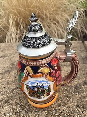 Vintage West German Pottery Stein with Metal Lid