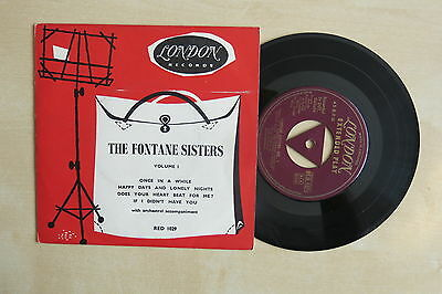"""THE FONTANE SISTERS Volume 1 UK 7"""" EP London Records RED 1029 gold 1956"""