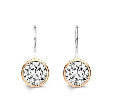 NEWGenuine Ti Sento Silver with Rose gold plated CZ set Drop earrings 7653ZR £69