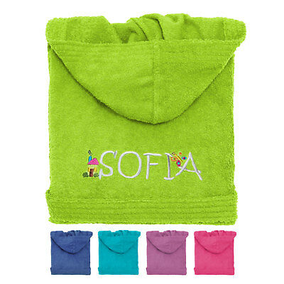 Personalize Kid´s Hooded Terry Toweling Bathrobe Blue/Pink/Green/Lilac/Turquoise