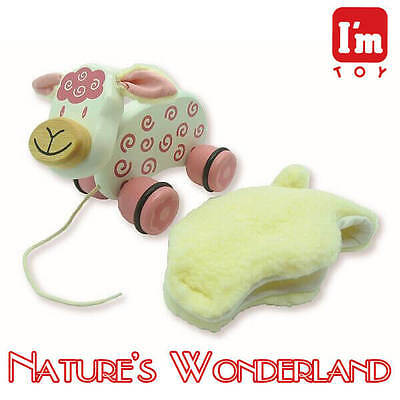 Paddie Pull Along Pet - LAMBIE - I'm Toy brand, from Eco sustainable rubber wood