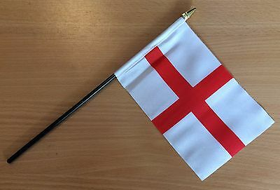 "ENGLAND ST GEORGE HAND WAVING FLAG small 6"" x 4"" with 10"" pole Table Flag"