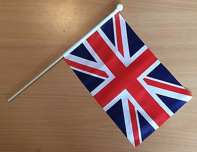 "UNION JACK GREAT BRITAIN UK HAND WAVING FLAG 9"" x 6"" with 12"" wooden pole"