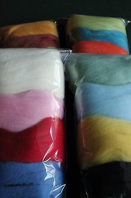 Clover 100% natural wool roving for needle felting. Pack of four colours.