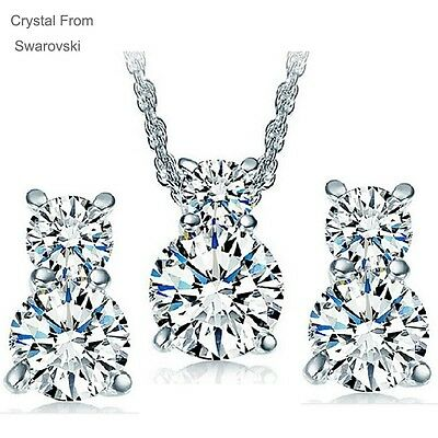 925 Silver Plated Swarovski Crystal Necklace And Earrings Jewellery Set Gift Box