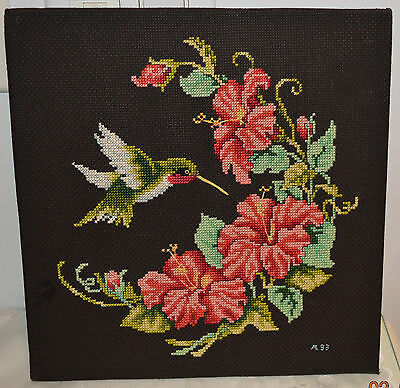 Mounted, Ready For Framing, Finished Cross Stitch HummingBird & Morning Glories