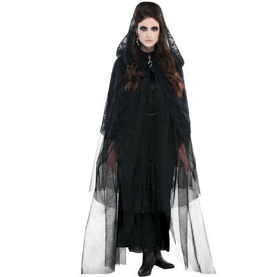 Womens Halloween Black Lace Hooded Witches Cape - One Size